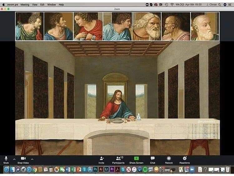 Jesus and disciples at the Last Supper as if on a Zoom call.