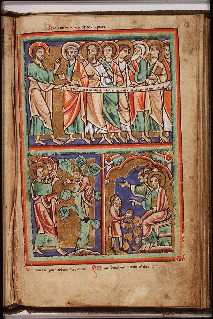 Jesus and Zacchaeus in  a medieval text - From europeana.eu
