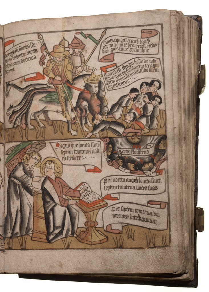 Medieval Bible with violent deaths in the book of Revelation