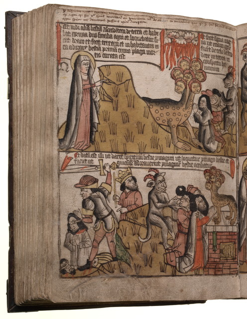 images from a medieval Bible from the book of Revelation  https://picryl.com/media/apocalypsis-sancti-johannis-154