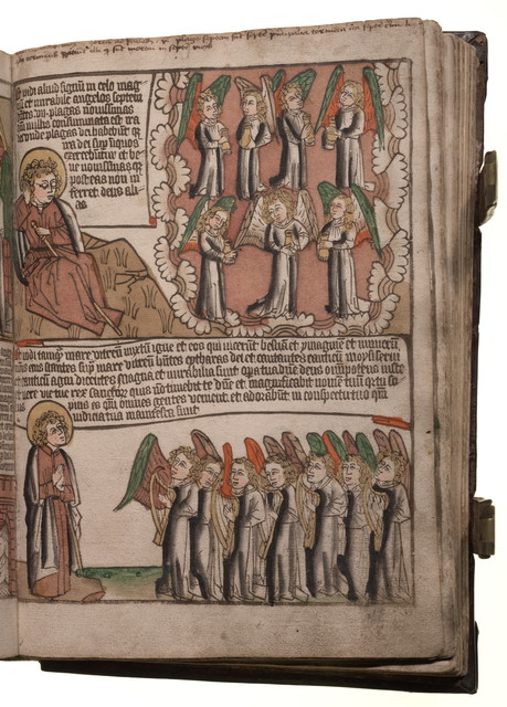 Medieval Bible with 7 angels in the book of Revelation