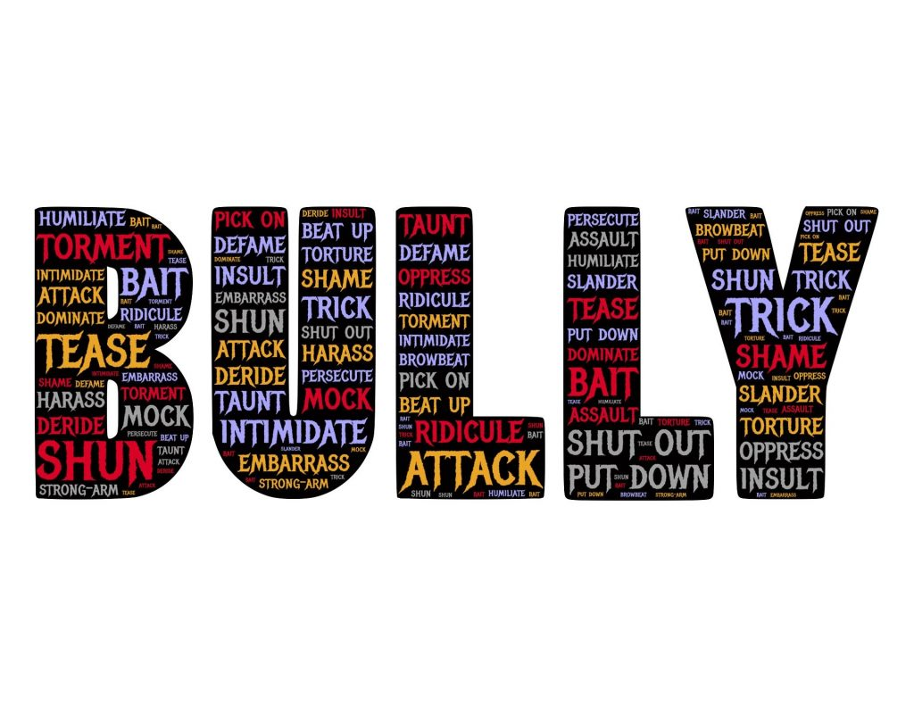 The word BULLY with other words written within that word.