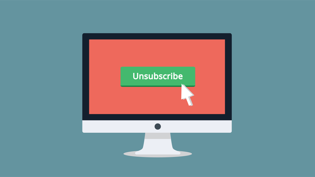 """""""Unsubscribe"""" on a computer monitor. Free image from Pixabay."""